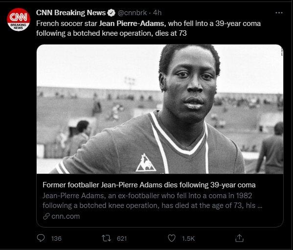 Jean-Pierre Adams Former France Footballer Dies 39 Years in Coma